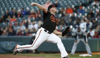 Baltimore Orioles starting pitcher Dylan Bundy throws to a Cleveland Indians batter during the first inning of a baseball game, Friday, April 20, 2018, in Baltimore. (AP Photo/Patrick Semansky)
