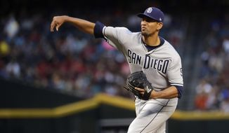San Diego Padres starting pitcher Tyson Ross throws against the Arizona Diamondbacks during the first inning of a baseball game Friday, April 20, 2018, in Phoenix. (AP Photo/Matt York)