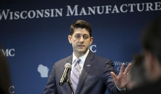 Wisconsin First District Congressman and House Speaker Paul Ryan delivers remarks during an appearance at a Wisconsin Manufacturers & Commerce Business Luncheon at The Edgewater in Madison, Wis., Friday, April 20, 2018. (John Hart/Wisconsin State Journal via AP)