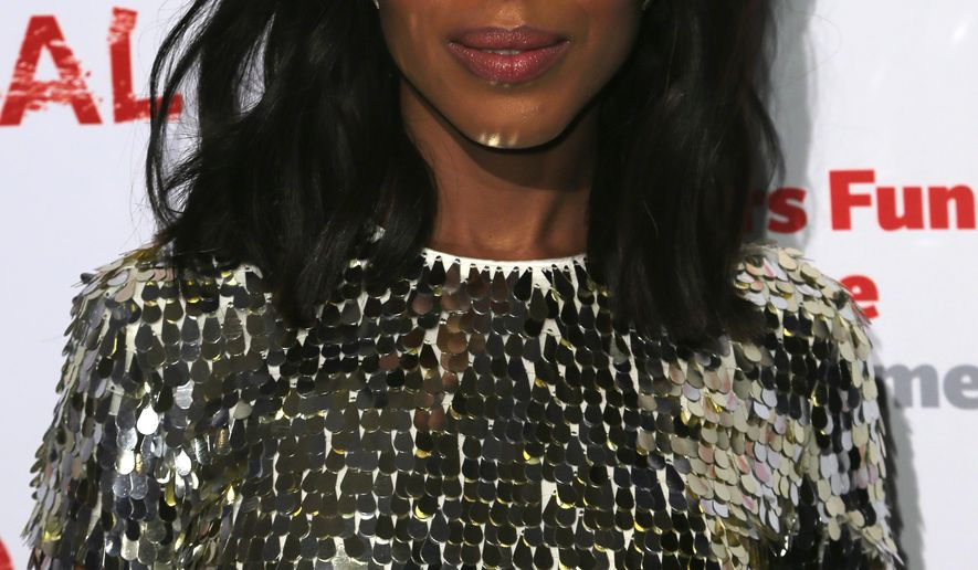 """Kerry Washington, cast member of """"Scandal"""" arrives a the live stage reading of the series finale at El Capitan Theatre on Thursday, April 19, 2018, in Los Angeles. (Photo by Willy Sanjuan/Invision/AP)"""