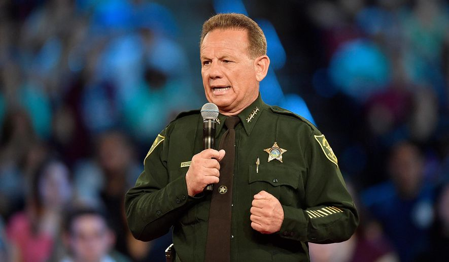 This photo taken Feb. 21, 2018, shows Broward County Sheriff Scott Israel speaking before a CNN town hall broadcast, at the BB&T Center, in Sunrise, Fla.  The union that represents the deputies who responded to the Florida high school massacre is holding a no-confidence vote on the sheriff. The Broward Sheriff's Office Deputies Association is conducting a poll of its members about their confidence in Sheriff Scott Israel. It will end Saturday, April 21, 2018. (Michael Laughlin/South Florida Sun-Sentinel via AP)