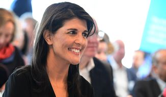 United Nations Ambassador to the United Nations Nikki Haley arrives at The European Spallation Source (ESS) in Lund, Sweden, Friday, April 20, 2018. The annual informal working meeting with the UN Secretary-General and the Security Council will be held at Dag Hammarskojld's farm Backakra in Skane, southern Sweden on Saturday. (Johan Nilsson/TT News Agency via AP)