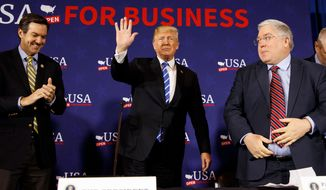 President Trump has met with Republican senatorial candidates in West Virginia, Rep. Evan H. Jenkins (left) and state Attorney General Patrick Morrisey. His son, Donald Trump Jr., is encouraging voters not to elect one of their challengers, former coal mine executive Don Blankenship. (Associated Press/File)