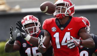 """Georgia wide receiver Trey Blount (14) and defensive back D""""Andre Walker battle fro the ball during the first half of the G day intrasquad spring college football game Saturday, April 21, 2018, in Athens, Ga. (AP Photo/John Bazemore)"""