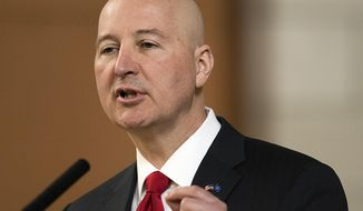Nebraska Gov. Pete Ricketts speaks at the legislature on the last day of the legislative session, Wednesday, April 18, 2018, in Lincoln, Neb., in this file photo. (Gwyneth Roberts/Lincoln Journal Star via AP) **FILE**