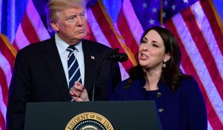 Republican National Committee chairwoman Ronna Romney McDaniel speaks at a fundraiser at Cipriani in New York with President Donald Trump, Dec. 2, 2017. (Associated Press) **FILE**