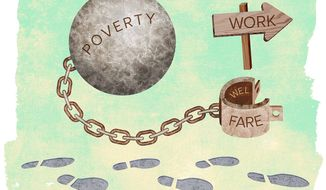 Unlocked from Poverty Illustration by Greg Groesch/The Washington Times