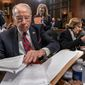 Senate Judiciary Committee Chairman Chuck Grassley, R-Iowa, joined at right by Sen. Dianne Feinstein, D-Calif., the ranking member, prepares to open a meeting of his panel to consider a bipartisan effort to protect special counsel Robert Mueller's job, on Capitol Hill in Washington, Thursday, April 19, 2018. Senate Majority Leader Mitch McConnell has said he will not hold a floor vote on the legislation even if it is approved next week in Judiciary. (AP Photo/J. Scott Applewhite)