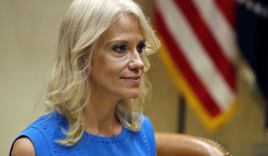 Kellyanne Conway, senior White House Advisor, is seen during a listening session conducted by Health and Human Services Secretary Tom Price, in the Roosevelt Room of the White House, Wednesday, June 21, 2017, in Washington. Senate Republicans are steering toward a potential showdown vote on their long-awaited health care bill, despite indications that they've yet to solidify the 50 GOP votes they'll need to avert an embarrassing defeat. A draft of the still-secret bill is expected to be unveiled Thursday. (AP Photo/Alex Brandon)