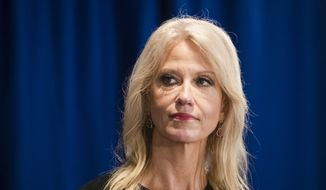 Counselor to the President Kellyanne Conway during a news conference in Trenton, N.J., Monday, Sept. 18, 2017. (AP Photo/Matt Rourke) ** FILE **