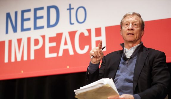 """Political activist Tom Steyer speaks during the """"Need to Impeach"""" town hall event at the Clifton Cultural Arts Center, Friday, March 16, 2018, in Cincinnati. Steyer, a billionaire activist also involved in environmental causes, founded the """"Need to Impeach"""" petition campaign on claims that President Donald Trump meets the criteria for impeachment. The event kicks-off a national tour in an effort to generate support. (AP Photo/John Minchillo)"""