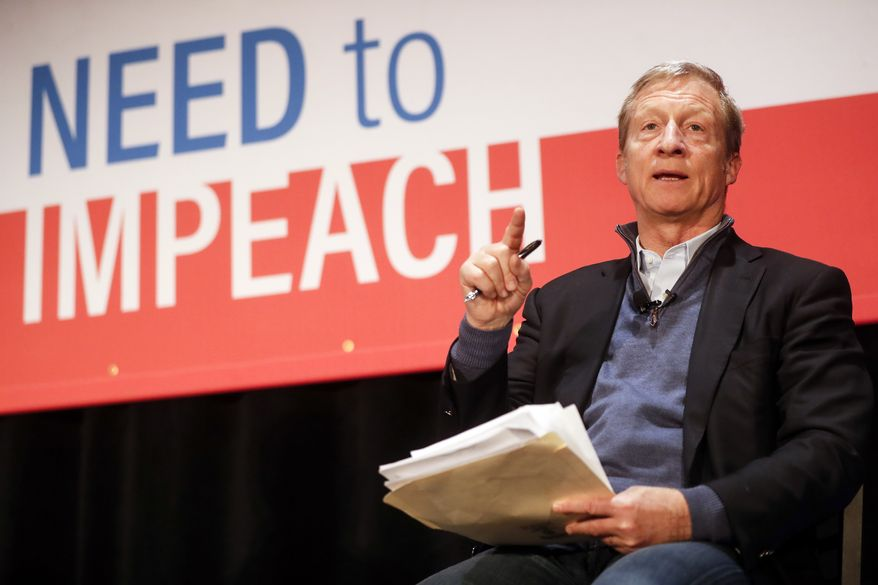 "Political activist Tom Steyer speaks during the ""Need to Impeach"" town hall event at the Clifton Cultural Arts Center, Friday, March 16, 2018, in Cincinnati. Steyer, a billionaire activist also involved in environmental causes, founded the ""Need to Impeach"" petition campaign on claims that President Donald Trump meets the criteria for impeachment. The event kicks-off a national tour in an effort to generate support. (AP Photo/John Minchillo)"