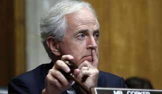 Senate Foreign Relations Committee Chairman Sen. Bob Corker, R-Tenn., listens to testimony from Secretary of State-designate Mike Pompeo during his confirmation hearing Thursday, April 12, 2018, on Capitol Hill in Washington. (AP Photo/Jacquelyn Martin)