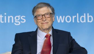 "Bill Gates, co-chair of the Bill & Melinda Gates Foundation, attends the panel ""Building Human Capital: A Project for the World,"" during the World Bank/IMF Spring Meetings, in Washington, Saturday, April 21, 2018. ( AP Photo/Jose Luis Magana) ** FILE **"