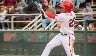 In games through Saturday for the Hagerstown Suns, outfielder Juan Soto was batting .389 (21-for-54) with five doubles, three triples and five homers with 24 RBIs. He had an OPS of 1.378. (Photo courtesy of John Slick, Hagerstown Suns) ** FILE **