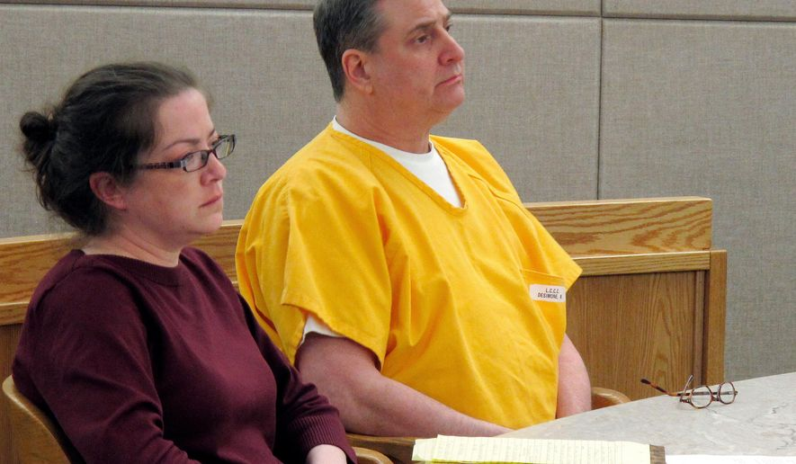 In this Thursday, April 19, 2018 photo, Mark Desimone, right, sits next to his attorney Deborah Macaulay, during a pretrial hearing in Juneau, Alaska. Desimone, a former Arizona legislator, is charged in the shooting death of an Alaska man in 2016. Jury selection is expected to start Monday, April 23. (AP Photo/Becky Bohrer)