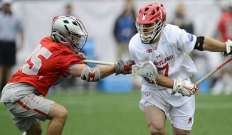 Tim Rotanz (right) of the Maryland lacrosse team plays against Ohio State in a 2017 matchup. (Photo courtesy of Maryland Athletics) ** FILE **