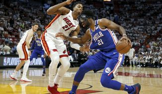 Philadelphia 76ers center Joel Embiid (21) drives as Miami Heat center Hassan Whiteside (21) defends in the first quarter in Game 4 of a first-round NBA basketball playoff series, Saturday, April 21, 2018, in Miami. (AP Photo/Joe Skipper)