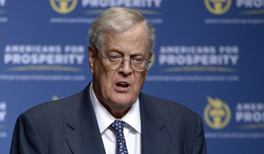 In this Aug. 30, 2013, file photo, Americans for Prosperity Foundation Chairman David Koch speaks in Orlando, Fla. A sure sign of policy success for the sprawling conservative network funded by the billionaire Koch brothers is Democratic pushback. With regulations being rolled back and huge tax cuts, Democrats question how far the Koch network's influence extends. (AP Photo/Phelan M. Ebenhack, File)