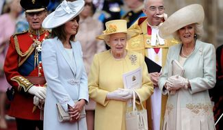 """FILE - In this April 29, 2011 file photo, from left, Prince Phillip, Carole Middleton, Queen Elizabeth II and Camilla, Duchess of Cornwall stand outside of Westminster Abbey after the Royal Wedding of Prince William and Kate Middleton in London. The wedding of Prince Harry and Meghan Markle on May 19 comes with a world of etiquette and protocol for guests. While the upper crust among them may be well initiated, newbies from Hollywood could be attending their first royal affair. The invitations to 600 guests described the high church dress code thusly: For men, military uniforms, morning coats or lounge suits, otherwise known as business suits in not-wacky colors. For women, """"day dress with hat."""" (AP Photo/Martin Meissner, File)"""