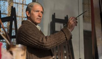 "This image released by National Geographic shows Antonio Banderas as Pablo Picasso in the second season of National Geographic's ""Genius,"" premiering on April 24. (National Geographic/Dusan Martincek)"