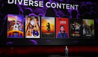 John Fithian, president and CEO of the National Association of Theatre Owners, discusses diversity in current films at CinemaCon 2018, the official convention of the National Association of Theatre Owners, at Caesars Palace on Tuesday, April 24, 2018, in Las Vegas. (Photo by Chris Pizzello/Invision/AP)