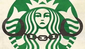 Illustration on the Starbucks' sensitivity training situation by Linas Garsys/The Washington Times