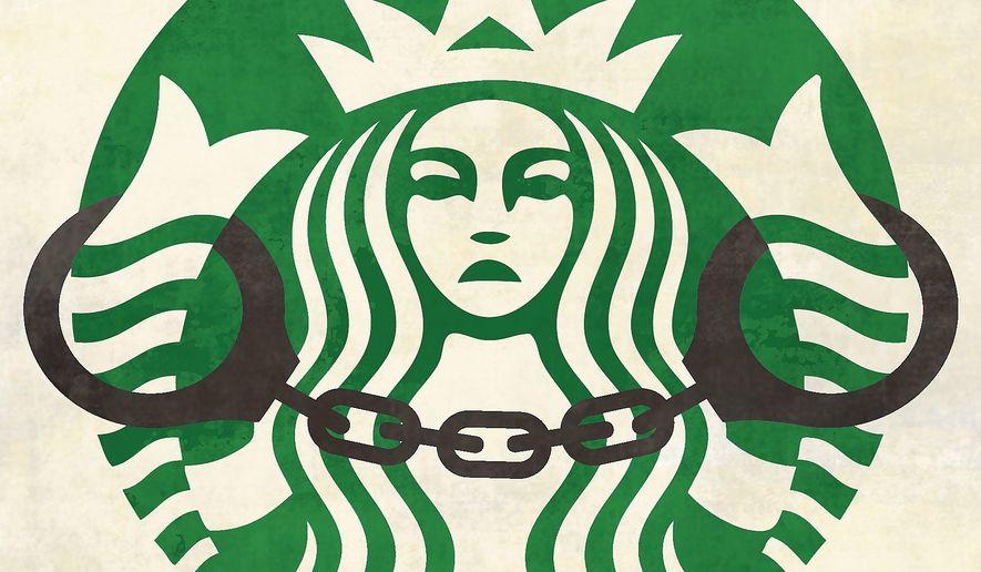 Illustration on the Starbucks' sensitivity training situation by Linas Garsys/The Washington Times