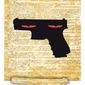 Illustration on the dangers of abolishing the Second Amendment by Alexander Hunter/The Washington Times