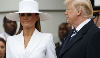 President Donald Trump looks to first lady Melania Trump as they wait to greet French President Emmanuel Macron and his wife Brigitte Macron during a State Arrival Ceremony on the South Lawn of the White House in Washington, Tuesday, April 24, 2018. (AP Photo/Carolyn Kaster)