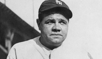 This undated file photo shows Babe Ruth. As part of its collection of Babe Ruth items, the Baseball Hall of Fame says it has the bat the slugger used to hit his then-record 60th home run in 1927. (AP Photo/File)