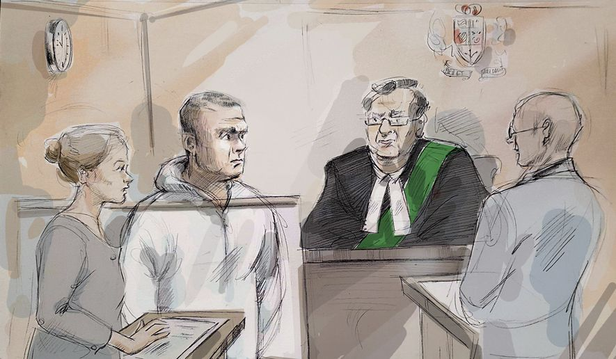 In this courtroom sketch, Duty counsel Georgia Koulis, from left, Alek Minassian, Justice of the Peace Stephen Waisberg and Crown prosecutor Joe Callaghan appear in court in Toronto on Tuesday, April 24, 2018. The 25-year-old suspect, Minassian, was charged Tuesday with first degree murder in the deaths of 10 pedestrians he mowed down in the rented van he sent careening along the busy walkway. (Alexandra Newbould/The Canadian Press via AP)