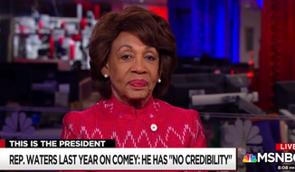 Congresswoman Maxine Waters of California appears on MSNBC to talk about former FBI Director James Comey and President Trump, April 23, 2018. (Image: MSNBC screenshot)
