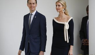 White House senior adviser Jared Kushner, and his wife Ivanka Trump, the daughter of President Donald Trump, walk back to the White House after attending the State Arrival Ceremony on the South Lawn of the White House in Washington, Tuesday, April 24, 2018. (AP Photo/Pablo Martinez Monsivais)
