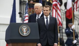 President Donald Trump and French President Emmanuel Macron during a State Arrival Ceremony on the South Lawn of the White House in Washington, Tuesday, April 24, 2018. (AP Photo/Pablo Martinez Monsivais)