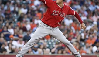 Los Angeles Angels starting pitcher Tyler Skaggs delivers during the first inning of a baseball game against the Houston Astros, Monday, April 23, 2018, in Houston. (AP Photo/Eric Christian Smith)