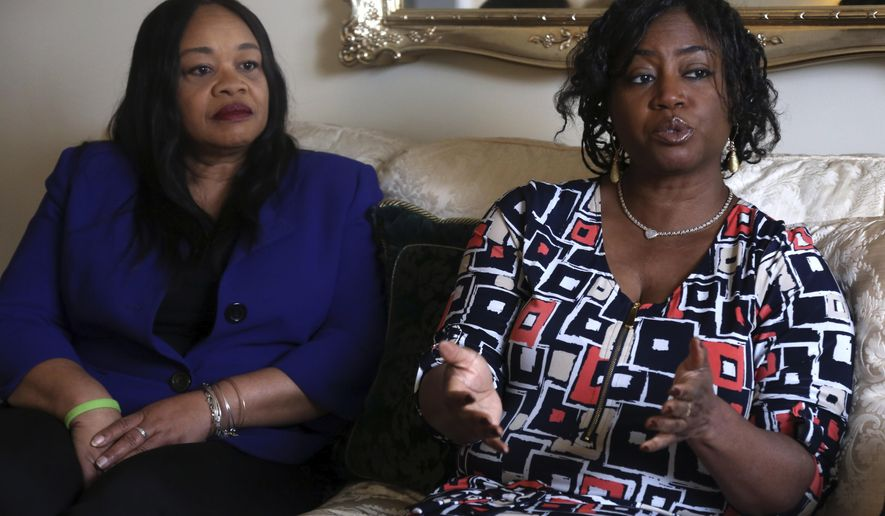"""Sandra Thompson, right, speaks alongside Sandra Harrison, both golfers and members of a group of local women known as Sisters in the Fairway, during an interview with The Associated Press, Tuesday April 24, 2018 in York, Pa. Officials at the Grandview Golf Club in York called police on the group Saturday, accusing them of playing too slowly and holding up others behind them. On Sunday club co-owner JJ Chronister told the York Daily Record she called the women personally to """"sincerely apologize."""" (AP Photo/Jacqueline Larma)"""