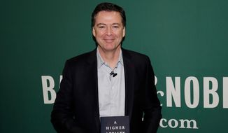 "Former FBI Director James B. Comey is on a media tour selling his memoir, ""A Higher Loyalty."" (Associated Press/File)"