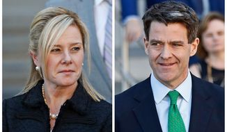 FILE - This combination of March 29, 2017, file photos shows Bridget Kelly, left, and Bill Baroni leaving federal court after sentencing in Newark, N.J. Attorneys for Kelly and Baroni are scheduled to argue in court, Tuesday, April 24, 2018, in Philadelphia, to try and convince a federal appeals court their clients' convictions in the George Washington Bridge lane-closing case should be reversed. (AP Photo/Julio Cortez, File)