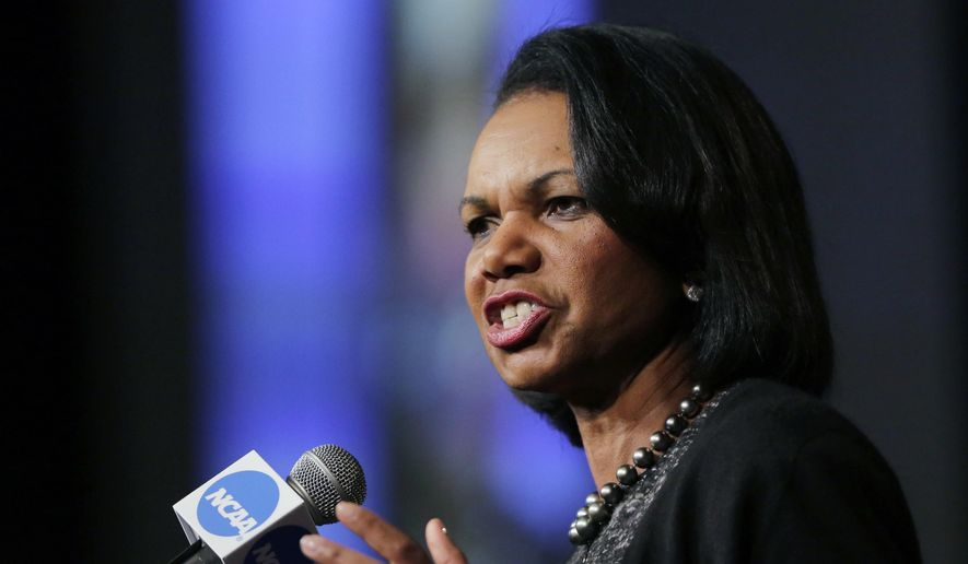 "FILE - In this Jan. 14, 2016, file photo, former Secretary of State Condoleeza Rice speaks during a luncheon at the NCAA Convention in San Antonio. College basketball spent an entire season operating amid a federal corruption investigation that magnified long-simmering problems within the sport, from unethical agent conduct to concerns over the ""one-and-done"" model. On Wednesday morning, April 25, 2018, the commission headed by Condoleezza Rice will present its proposed reforms to university presidents of the NCAA Board of Governors and the Division I Board of Directors at the NCAA headquarters in Indianapolis.(AP Photo/Eric Gay, File) **FILE**"