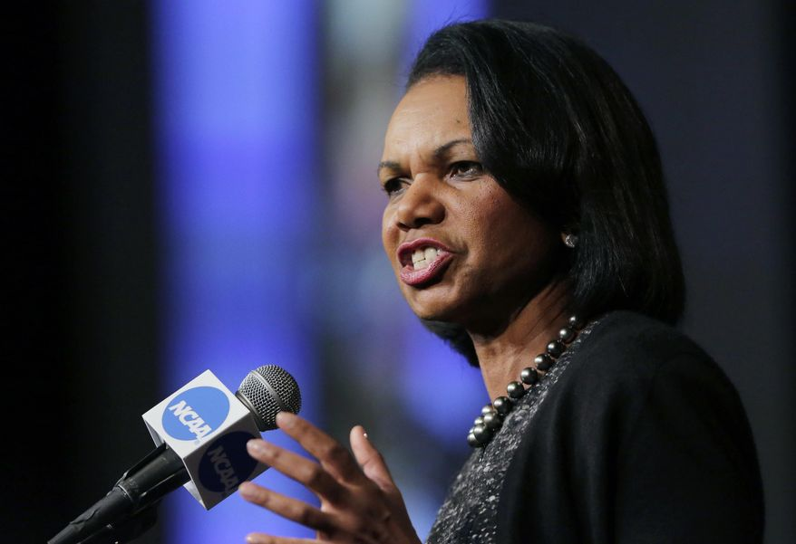 """FILE - In this Jan. 14, 2016, file photo, former Secretary of State Condoleeza Rice speaks during a luncheon at the NCAA Convention in San Antonio. College basketball spent an entire season operating amid a federal corruption investigation that magnified long-simmering problems within the sport, from unethical agent conduct to concerns over the """"one-and-done"""" model. On Wednesday morning, April 25, 2018, the commission headed by Condoleezza Rice will present its proposed reforms to university presidents of the NCAA Board of Governors and the Division I Board of Directors at the NCAA headquarters in Indianapolis.(AP Photo/Eric Gay, File) **FILE**"""