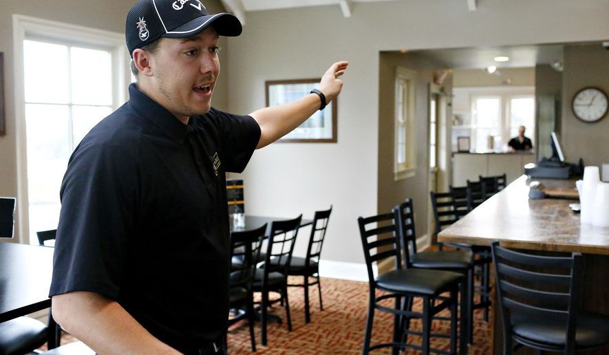 CORRECTS SOURCE TO YORK DISPATCH INSTEAD OF THE YORK DAILY RECORD- In this Wednesday, March 1, 2017 photo, Brewvino Owner and Manager Jordan Chronister talks about renovations that will be made following Brewvino, LLC.'s acquisition of Grandview Golf Club, in York, Pa. The golf club is apologizing for calling police on a group of black women after Chronister and his father said they were playing too slowly. The women were playing at the club on Saturday, April 21. (Dawn J. Sagert /York Dispatch via AP)