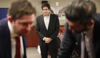 Illusionist David Copperfield appears in court Tuesday, April 24, 2018, in Las Vegas. Copperfield testified in a negligence lawsuit involving a British man who claims he was badly hurt when he fell while participating in a 2013 Las Vegas show. (AP Photo/John Locher)