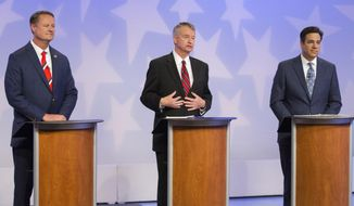 Republican Boise businessman Tommy Ahlquist, from left, Lt. Gov. Brad Little and Rep. Raul Labrador, R-Idaho, participate in a debate at the studios of Idaho Public Television in Boise, Idaho, Monday, April 23, 2018. (AP Photo/Otto Kitsinger)