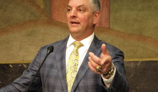 "Gov. John Bel Edwards speaks about the House-passed version of next year's budget Thursday, April 19, 2018, in Baton Rouge, La. Edwards called the proposal ""unworthy of the people of Louisiana."" (AP Photo/Melinda Deslatte)"