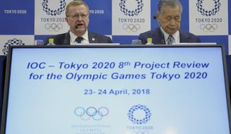 International Olympic Committee (IOC) Vice President John Coates, left, speaks as Yoshiro Mori, right, president of the Tokyo Organizing Committee of the Olympic and Paralympic Games, listens during their joint press conference in Tokyo Tuesday, April 24, 2018. Coates, the head of an IOC inspection team, urged organizers of the 2020 Tokyo Olympics to be more direct answering questions about preparations with the Games opening in just over two years. The advice from Coates on Tuesday came a week after several sports federations openly criticized Tokyo's preparations. (AP Photo/Eugene Hoshiko)