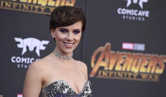 "Scarlett Johansson arrives at the world premiere of ""Avengers: Infinity War"" on Monday, April 23, 2018, in Los Angeles. (Photo by Jordan Strauss/Invision/AP) ** FILE **"