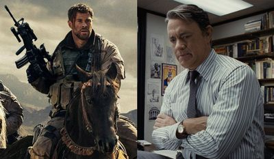 "Chris  Hemsworth as Capt. Mitch Nelson in ""12 Strong"" and Tom Hanks as Ben Bradlee in ""The Post,"" available on Blu-ray."