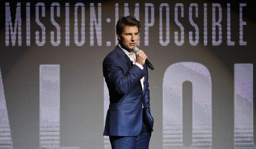 """Tom Cruise, star of the upcoming film """"Mission: Impossible - Fallout,"""" addresses the audience during the Paramount Pictures presentation at CinemaCon 2018, the official convention of the National Association of Theatre Owners, at Caesars Palace on Wednesday, April 25, 2018, in Las Vegas. (Photo by Chris Pizzello/Invision/AP)"""