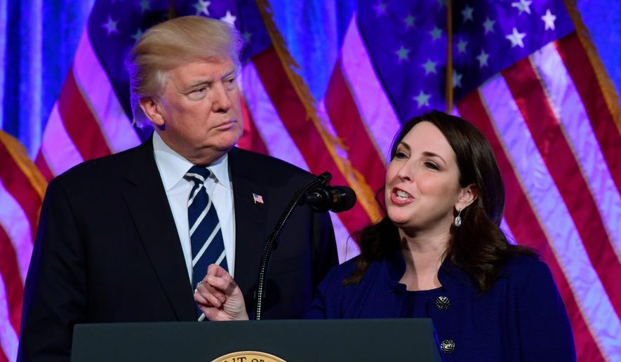 "President Trump is shown here in this undated file photo with RNC Chairwoman Ronna McDaniel. Ms. McDaniel is allegedly one target of social media company Twitter's practice of ""shadow banning,"" according to a report by Vice News. (Associated Press/File)"